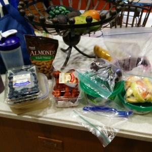 Fruits, almonds, avocados